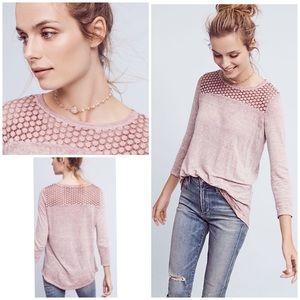 Akemi Kin Amis Linen Crochet Long Sleeves Top XL